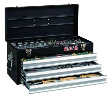 Caja de herramientas de 3 cajones con herramientas 109 pcs