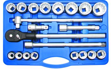 Juego de llaves de vaso entrada 20 mm (3/4) medidas en pulgadas 21 piezas