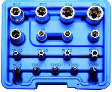 Juego de puntas y llaves de vaso E-Torx / perfil en T (para Torx) 17 piezas