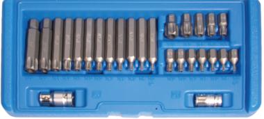 Juego de puntas entrada 10 mm (3/8) perfil en T (para Torx) con perforacion 26 piezas