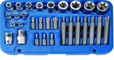 Juego de puntas y llaves de vaso E-Torx / perfil en T (para Torx) 30 piezas