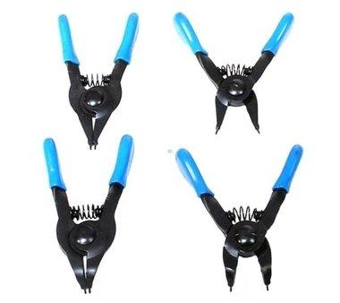 Juego de alicates de puntas (circlip) para anillos de retencion pequenos 80 mm 4 piezas