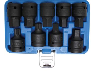 Juego de puntas de vaso de impacto entrada 20 mm (3/4) hexagono interior, dentado m ltiple interior (para XZN) 9 piezas