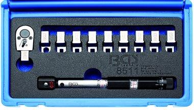 Llave de radios dinamométrica, con cabezales intercambiables