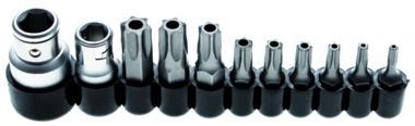 Juego de puntas entrada 10 mm (1/4) / 10 mm (3/8) perfil en T (para Torx) con perforacion 11 piezas