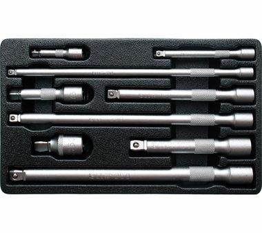 Juego de extensiones basculantes 6,3 mm (1/4), 10 mm (3/8), 12,5 mm (1/2) 9 piezas