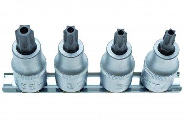 Juego 4 piezas de Puntas de Vaso 1/2, T-Star Inviolables tamperproof, T40-T55, 12.5