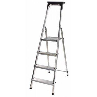 Escalera domestica de aluminio con bandeja para herramientas 4 peldanos Altura de la plataforma 0,8 m