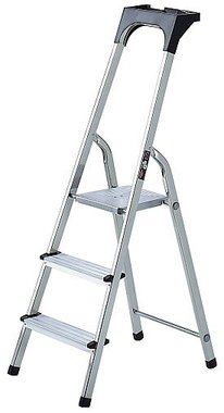 Escalera domestica de aluminio con bandeja para herramientas 3 peldanos Altura de la plataforma 0,54 m