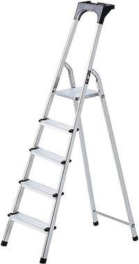 Escalera domestica de aluminio con bandeja para herramientas 7 peldanos Altura de la plataforma 1,5 m
