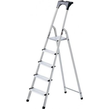 Escalera domestica de aluminio con bandeja para herramientas 6 peldanos Altura de la plataforma 1,19 m