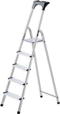 Escalera domestica de aluminio con bandeja para herramientas 5 peldanos Altura de la plataforma 0,97 m