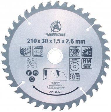Hoja de sierra circular con puntas de carburo, diametro 210 mm