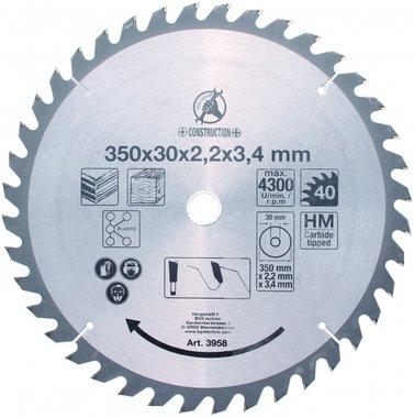 Hoja de sierra circular con punta de carburo, 350 mm