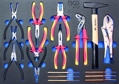 3/3 Bandeja de herramientas para carretillas de taller: 17 piezas Alicates de surtido, martillo, Pin Punch