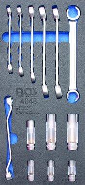 Bandeja de herramientas 1/3: Llave de tuerca abocardada y toma especial 10 mm (3/8) 13 piezas