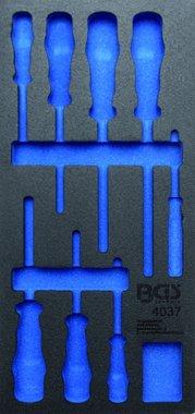 1/3 Bandeja de herramientas (408x189x32 mm), vacía, para juego de destornilladores VDE de 8 piezas