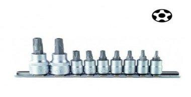 Conjunto de 9 tomas destornillador Torx TS 5-secciones perforados 1/4