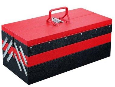 caja de herramientas de metal con 5 compartimientos