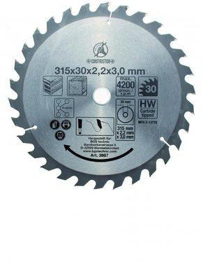 Hoja de sierra circular con puntas de carburo, diametro de 315 mm, 30 dientes