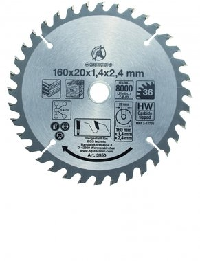 Hoja de sierra circular con puntas de carburo, diametro 160 mm