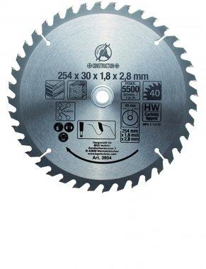 Hoja de sierra circular con puntas de carburo, diametro de 254 mm, 40 dientes