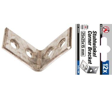 Juego de soportes de acero de 12 piezas 25 x 25 x 15 mm