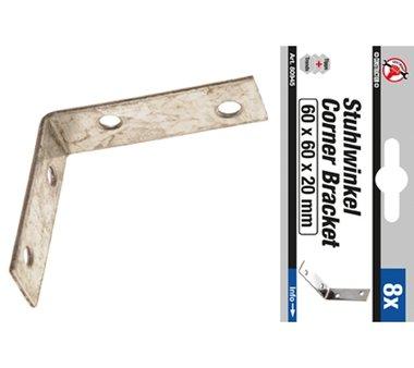 8 piezas de Escuadras de acero, 60 x 60 x 20 mm