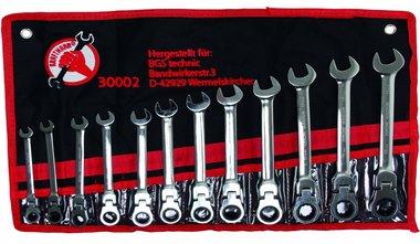 Juego 12 piezas de llaves combinadas con carraca articulada