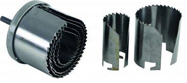 Sierra de corona de 7 piezas con broca centrada, 26-63 mm, 2 de profundidad