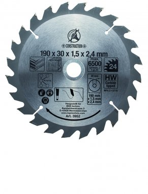 Hoja de sierra circular con puntas de carburo, diametro 190 mm, 24 dientes