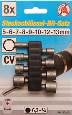 Juego 8 piezas adaptadores para taladros, 5 - 13 mm