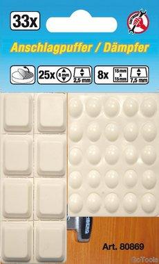46 piezas de topes elasticos blancos, auto adhesivos