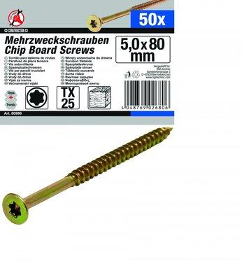 50 piezas de tornillos multi uso, 5.0 x 80 mm, T25