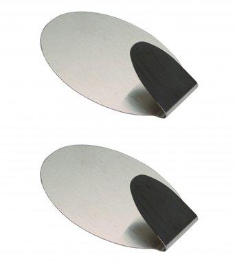 Ganchos de acero inoxidable autoadhesivo de forma ovalada, 2 unidades 3,5 x 5 cm capacidad de carga