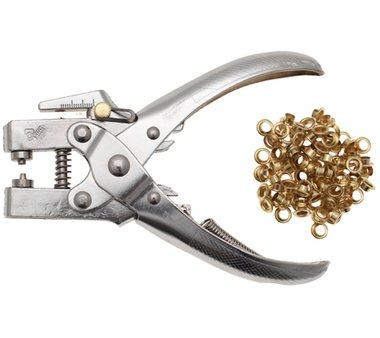 Alicate perforador para ojales, incluye surtido de ojales, 180 mm