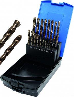 Juego de brocas giratorias de 19 piezas, HSS-G M35 Acero cobalto, 1 - 10 mm