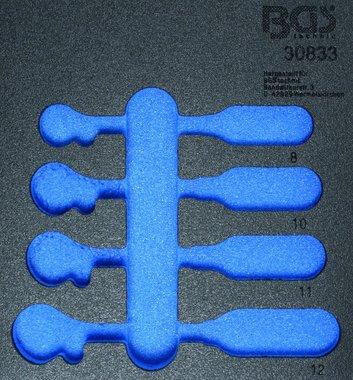 1/6 Bandeja de herramientas para el carro del taller, vacía: Llave inglesa del anillo del trinquete de 4 piezas