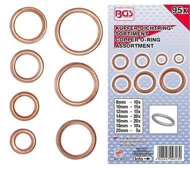95 piezas Cobre O-Ring Surtido, 6-20 mm