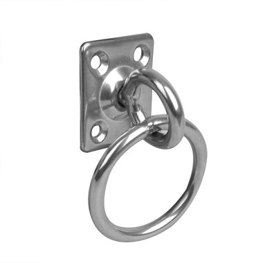 Placa de ojo con eslabón giratorio y anillo, 33x38x6mm, RVS AISI 316, 4 agujeros