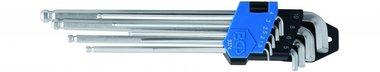 Juego de llaves tipo L de 9 piezas, Hex interno, extra largo, 1,5 - 10 mm