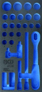 1/3 Bandeja de herramientas (408x189x32 mm), vacía, para 27 piezas 1/2 Juego de zócalos