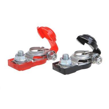 Conjunto de bornes de bateria (+) y (-) con proteccion plastico rojo/negro