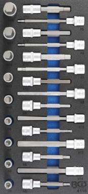 Tool Tray 1/3: Bit Socket Set hexágono interno de 12.5 mm (1/2 pulgada) 24 piezas.