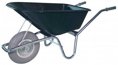 Marco galvanizado de la carretilla de jardín de la rueda blanda verde de 100 litros