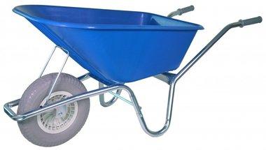 Marco galvanizado de la carretilla del jardín CAJA de la rueda suave azul de 100 litros