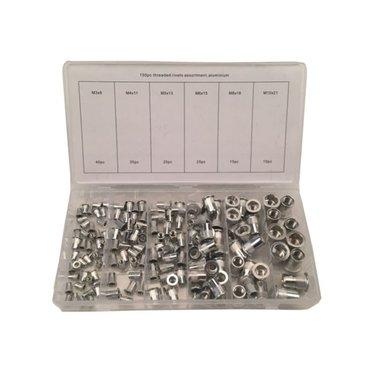 Remache ciego surtido de tuercas de aluminio de 150 piezas