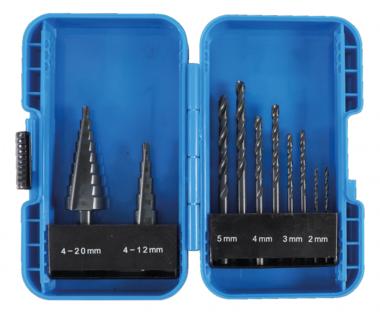 Juego de brocas escalonadas y espirales HSS 4 - 12 / 4 - 20 mm 2 - 5 mm 10 piezas