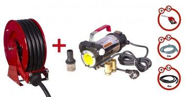 Bomba diesel 230 V + rodillo enrollable + juego de bomba