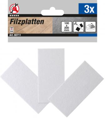 Tacos de fieltro Placas blanco 100 x 200 mm 3 piezas